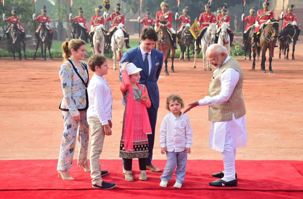 HADRIEN'S MANY MOODS: Prime Minister Narendra Modi receives Canadian Prime Minister Justin Trudeau, his wife Sophie Gregoire Trudeau and their children during a ceremonial reception at Rashtrapati Bhavan, in New Delhi, UNI