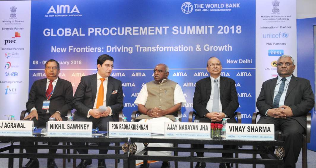 "SHOP TALK: Minister of State for Finance and Shipping P Radhakrishnan at the inauguration of the 'Global Procurement Summit 2018' on the ""New Frontiers faced in the Transformation process of Procurement Today"", in New Delhi, UNI"
