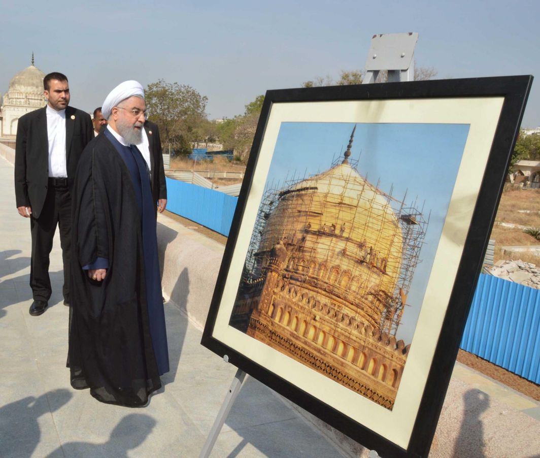 GUEST OF HONOUR: President of the Islamic Republic of Iran Hassan Rouhani visits the Qutub Shahi Tomb in Hyderabad, UNI