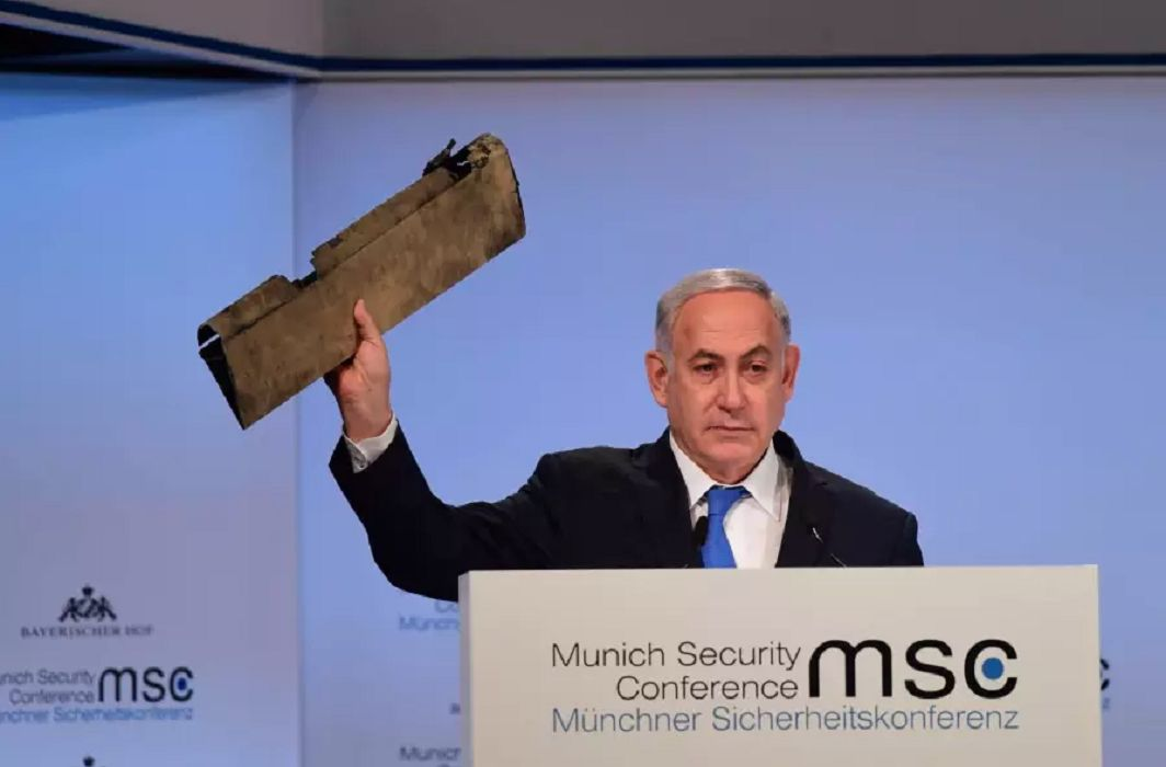 Israeli PM Banjamin Netanyahu has displayed a piece of an alleged Iranian drone in Munich Security Conference which was dismissed by Javad Zarif.