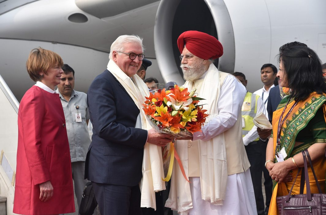 German President Frank-Walter Steinmeier arrives in New Delhi