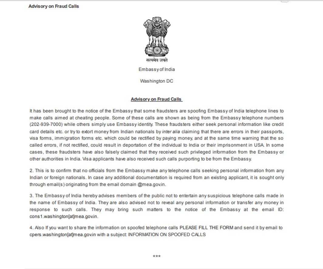 Indian embassy in US alerts of fraudsters calls for money