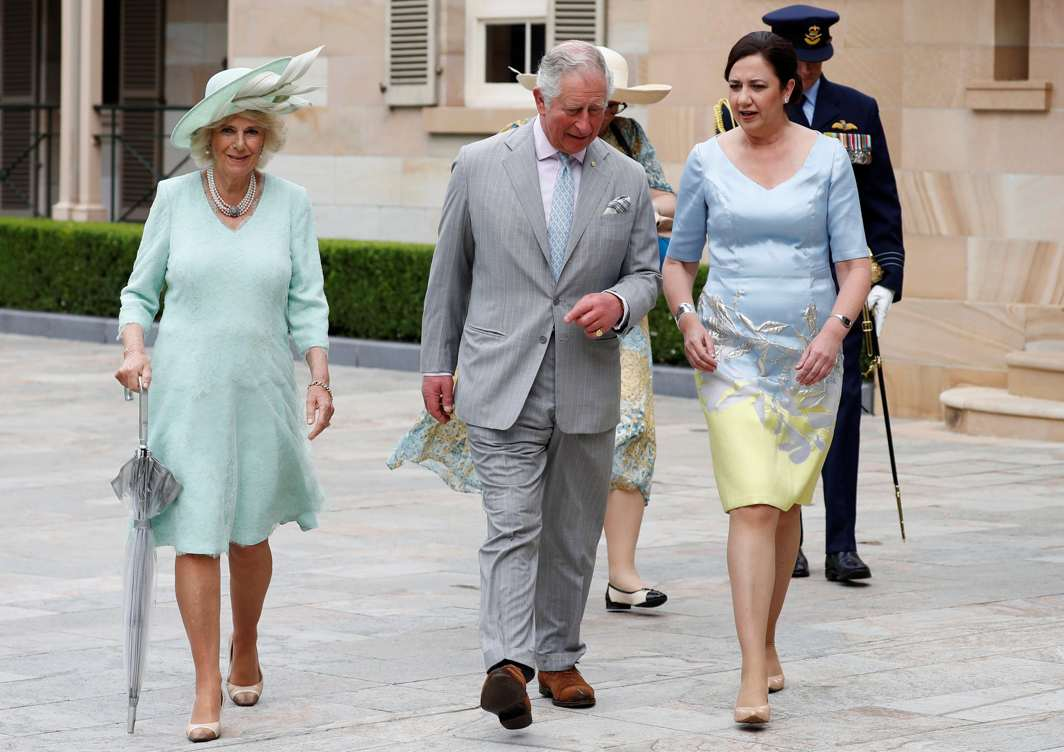WALK AND TALK: Britain's Prince Charles and Camilla, Duchess of Cornwall walk with Queensland Premier Annastacia Palaszczuk during a ceremonial welcome at Old Government House in Brisbane, Australia, Reuters/UNI