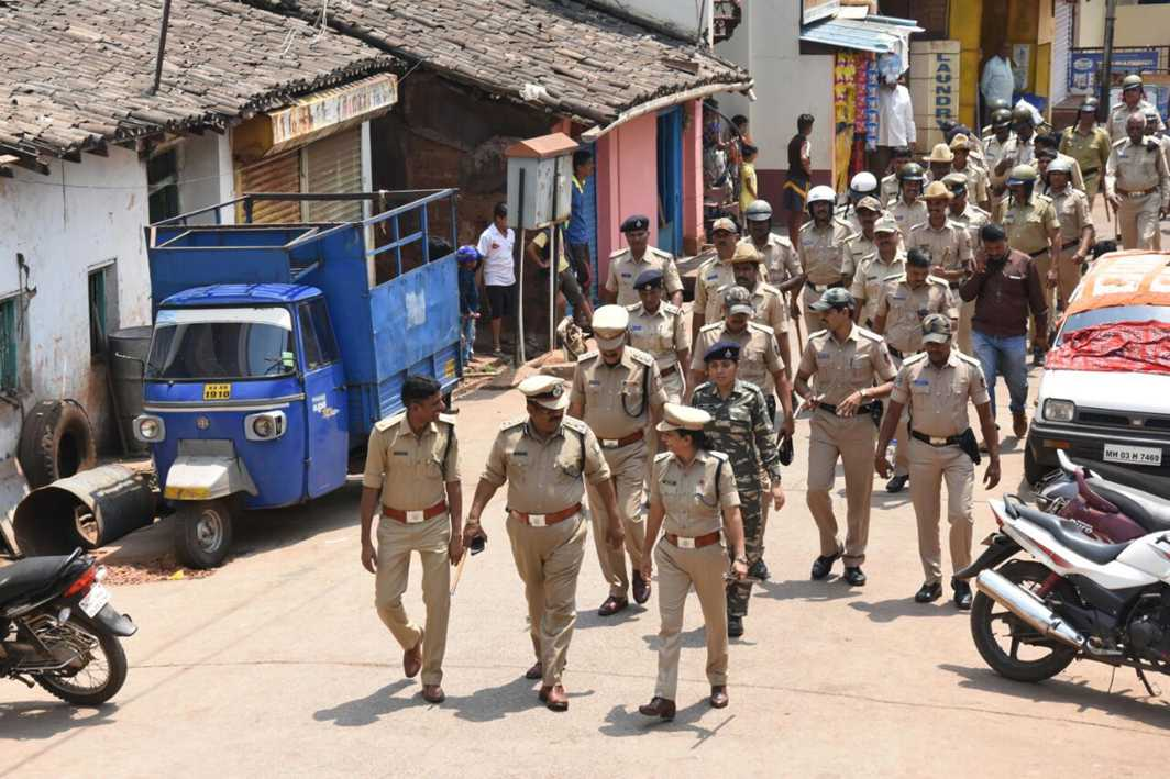 IN FORCE: Security forces conduct a flag march in sensitive localities as a precautionary measure ahead of the Karnataka assembly election, in Belagavi, UNI