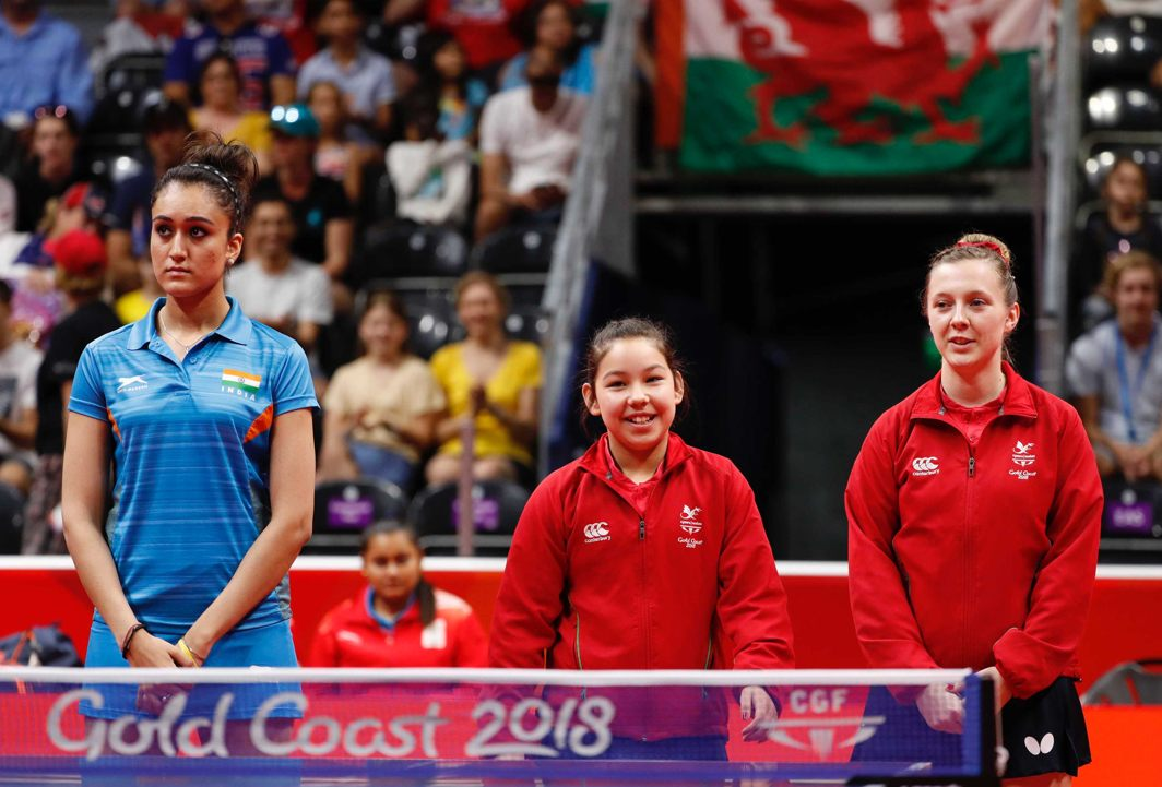 MATCH UP: Manika Batra of India, and Anna Hursey and Chloe Thomas of Wales ahead of their match at Gold Coast 2018 Commonwealth Games, Reuters/UNI