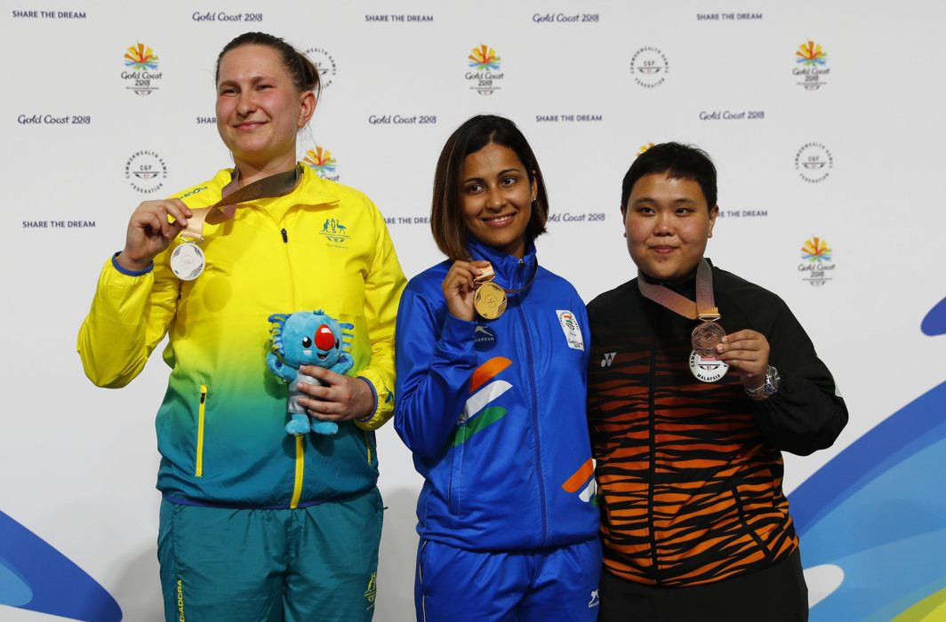 WINNER TAKE ALL: Gold medalist Heena Sidhu of India, silver medalist Elena Galiabovitch of Australia and bronze medalist Alia Sazana Azahari of Malaysia on the podium after the Women's 25m Pistol Final at Belmont Shooting Centre, Brisbane, Australia, during the Gold Coast 2018 Commonwealth Games, Reuters/UNI