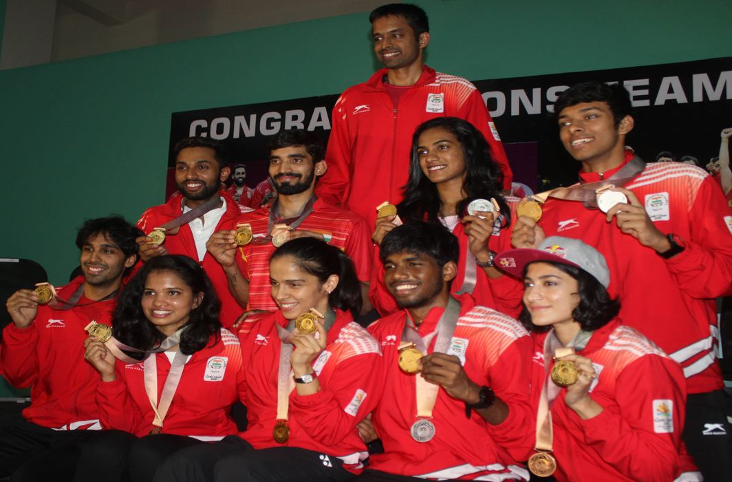 WINNERS ALL: Commonwealth gold medallist Saina Nehwal, gold and silver medallist Kidambi Srikanth, silver medallist PV Sindhu, bronze medallists Ashwini Ponnappa and Sikki Reddy, players HS Prannoy, Pranaav J Chopra, Satwik Sai Raj and Chirag Chandrashekhar Shetty, coach Pullela Gopichand at a presser in Gopichand Academy, in Hyderabad, UNI