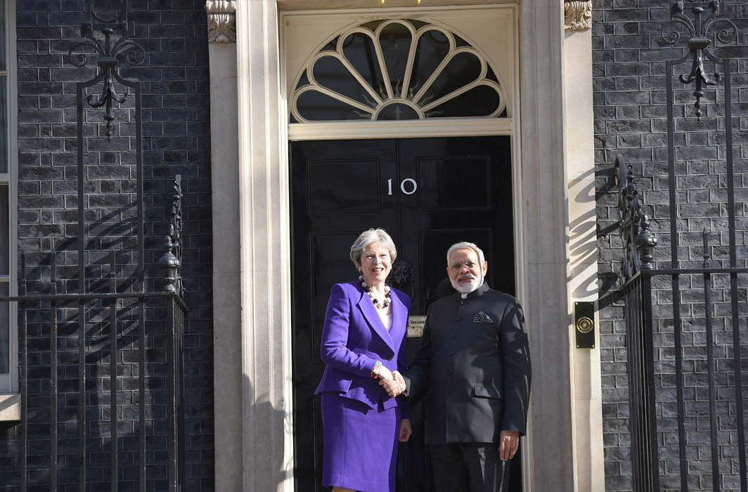 TWO'S COMPANY: Prime Minister Narendra Modi meets Theresa May, Prime Minister of the United Kingdom, at 10 Downing Street, London, UNI