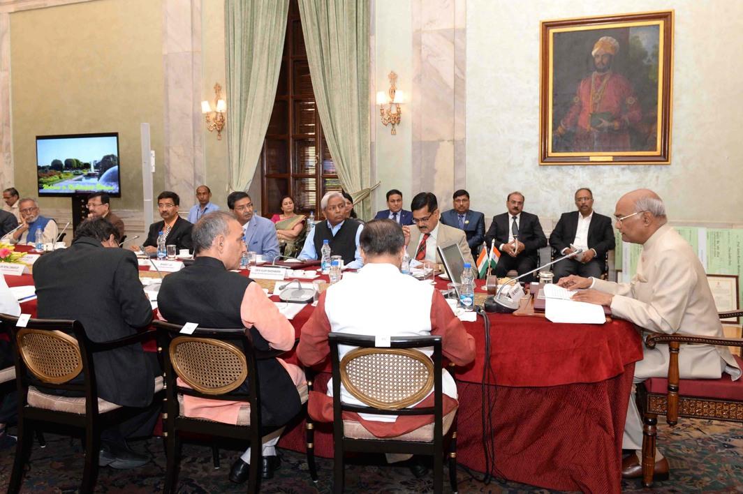 President Ram Nath Kovind meets the Vice-Chancellors of Central University at Rashtrapati Bhavan, in New Delhi, UNI