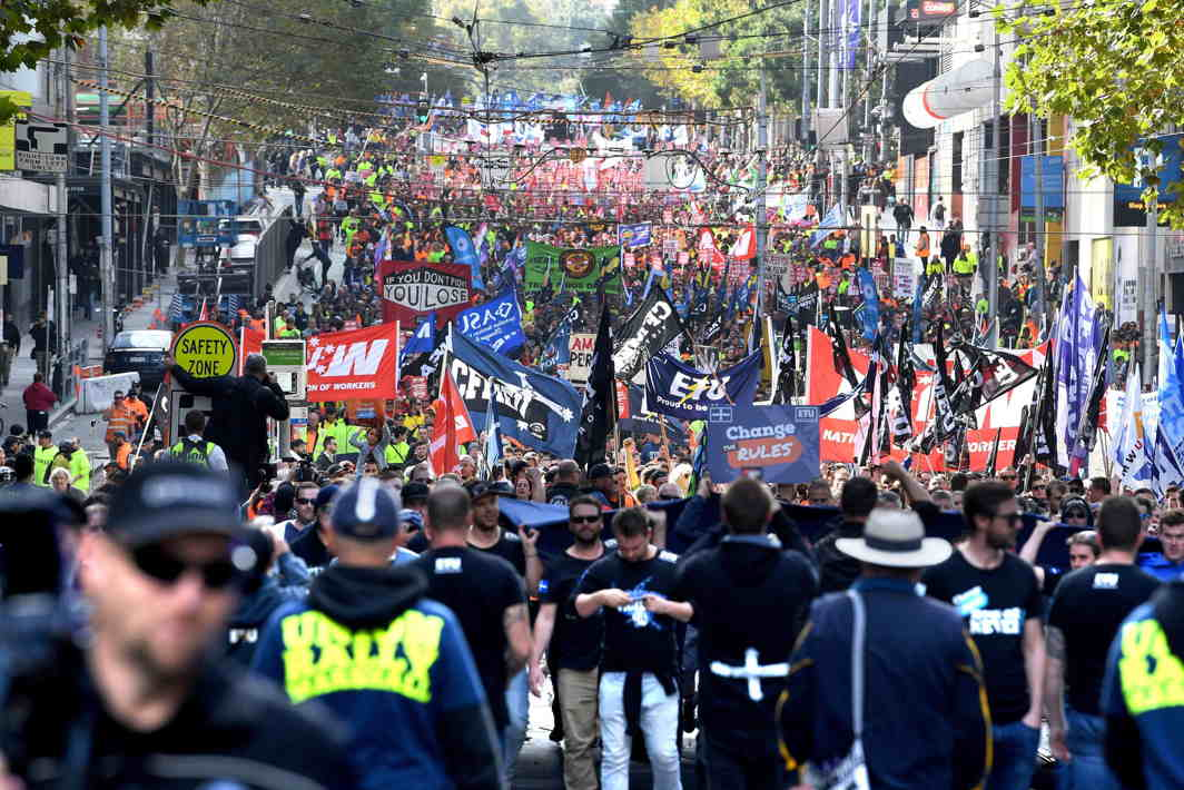 Union workers protest through the CBD for better pay and more secure jobs in Melbourne, Australia, AAP/Joe Castro/Reuters/UNI