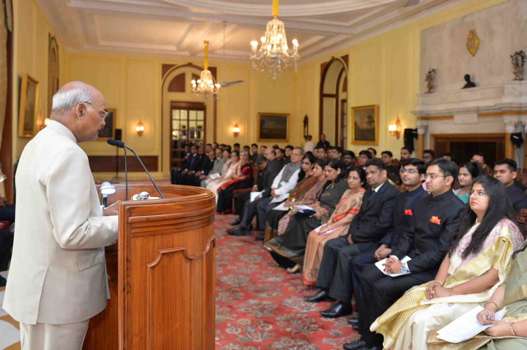 President Ram Nath Kovind addresses 41 Officer Trainees of Class-I Accounts & Finance Service attending 25th Professional Training Course at National Institute of Finance Management (NIFM) at Rashtrapati Bhavan in New Delhi, UNI