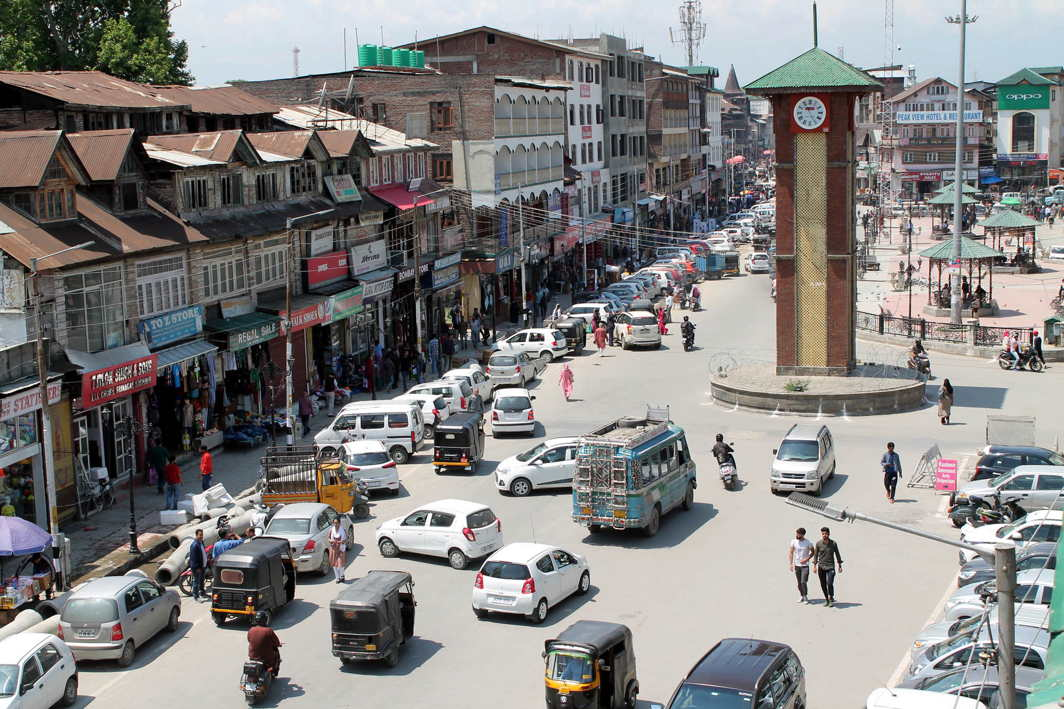 An aerial view of Lal Chowk in Srinagar on Wednesday as normalcy resumed after three day general strike in the Kashmir valley, UNI