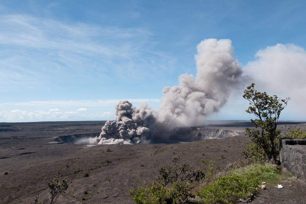 An ash plume rises from the Overlook Vent in Halema'uma'u crater in Hawaii, US, USGS/Reuters/UNI