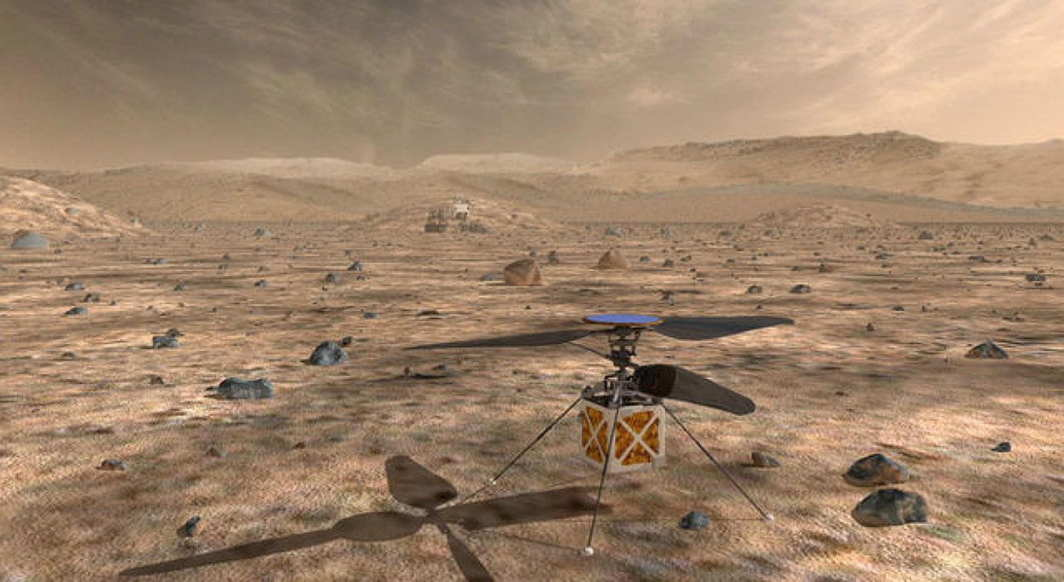 NASA's Mars Helicopter, a small, autonomous rotorcraft, which will travel with the agency's Mars 2020 rover, currently scheduled to launch in July 2020, to demonstrate the viability and potential of heavier-than-air vehicles on the Red Planet, is shown in this artist rendition from NASA/JPL in Pasadena, California, US, Reuters/UNI