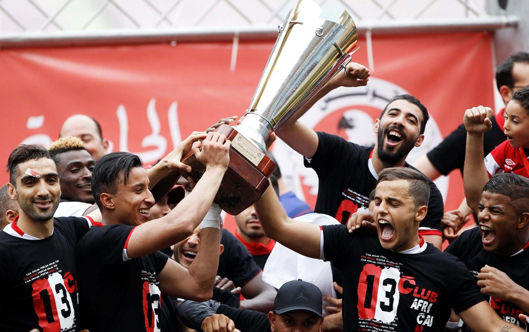 Club Africain players celebrate winning the Tunisia Cup with the trophy after beating Etoile Sportive du Sahel at the Rades Olympic stadium in Tunis, Tunisia, Reuters/UNI