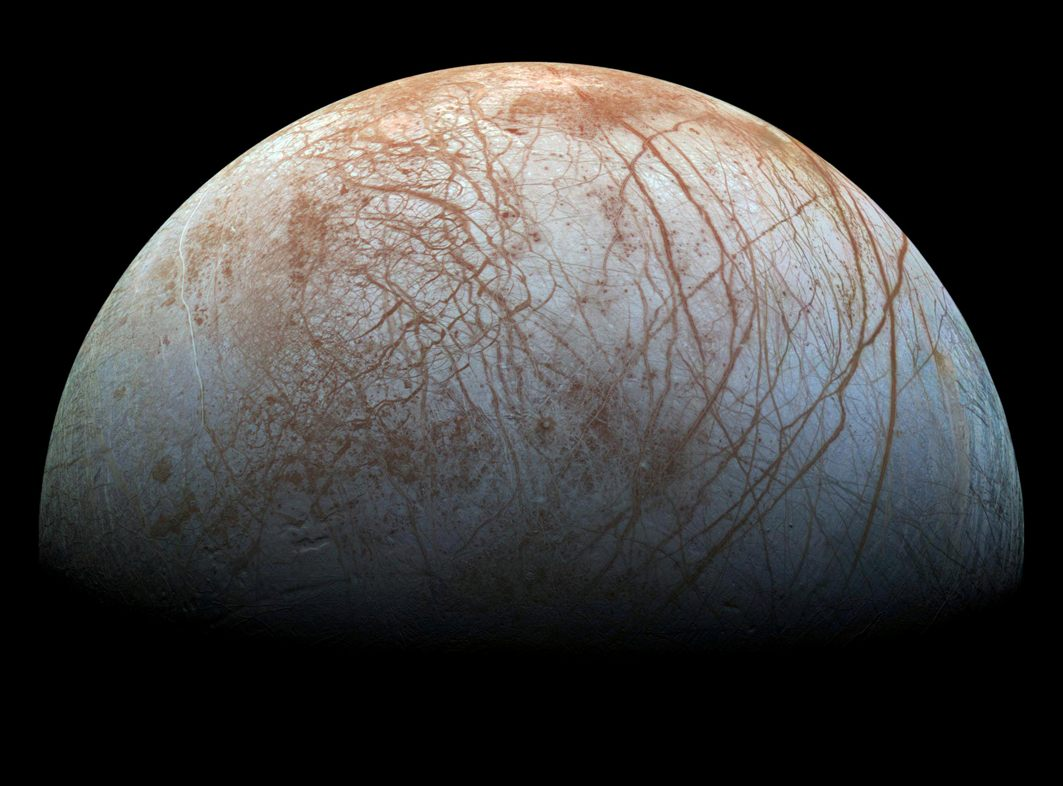 A view of Jupiter's moon Europa created from images taken by NASA's Galileo spacecraft in the late 1990's, according to NASA, Reuters/UNI