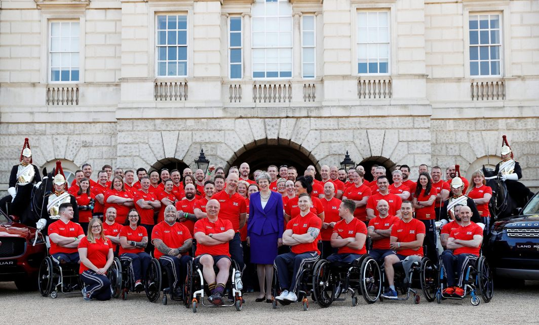 Britain's Prime Minister Theresa May meets members of Great Britain's Invictus Games team on Horse Guards Parade in central London, Reuters/UNI