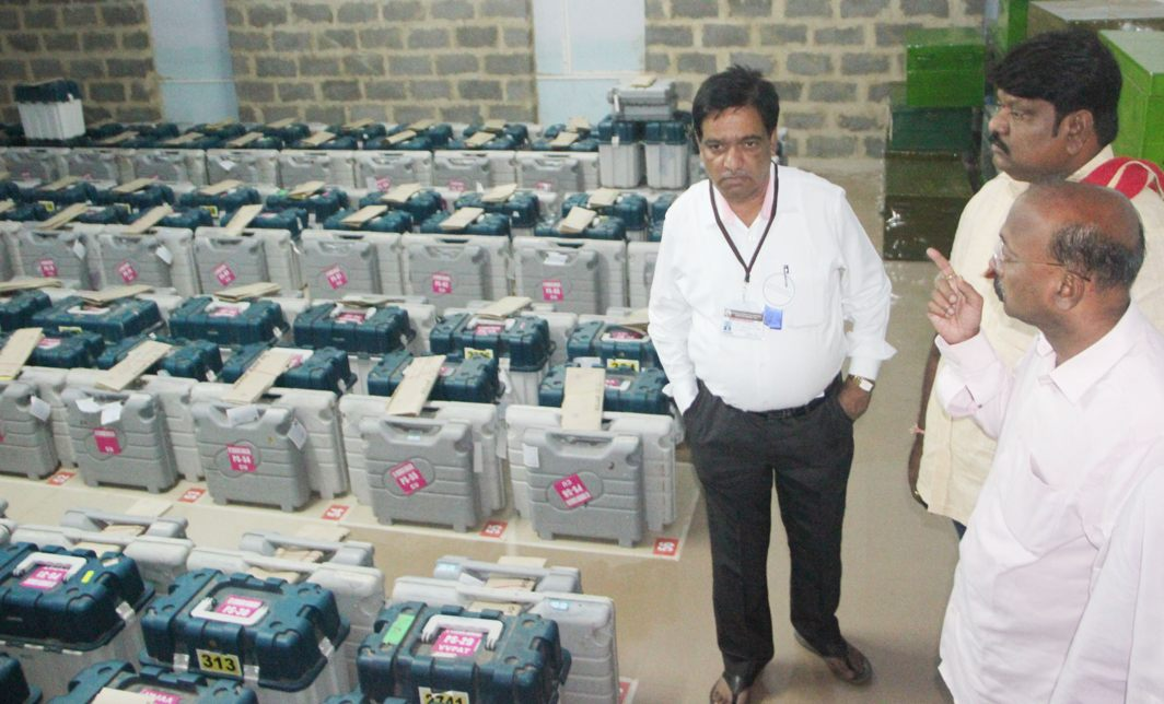 EVMs kept in a hall before counting of votes of Karnataka Assembly polls in Belagavi, UNI