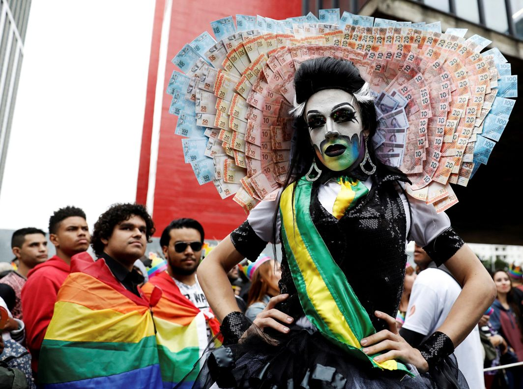 A reveller takes part in the Gay Pride parade along Paulista Avenue in Sao Paulo, Brazil, Reuters/UNI