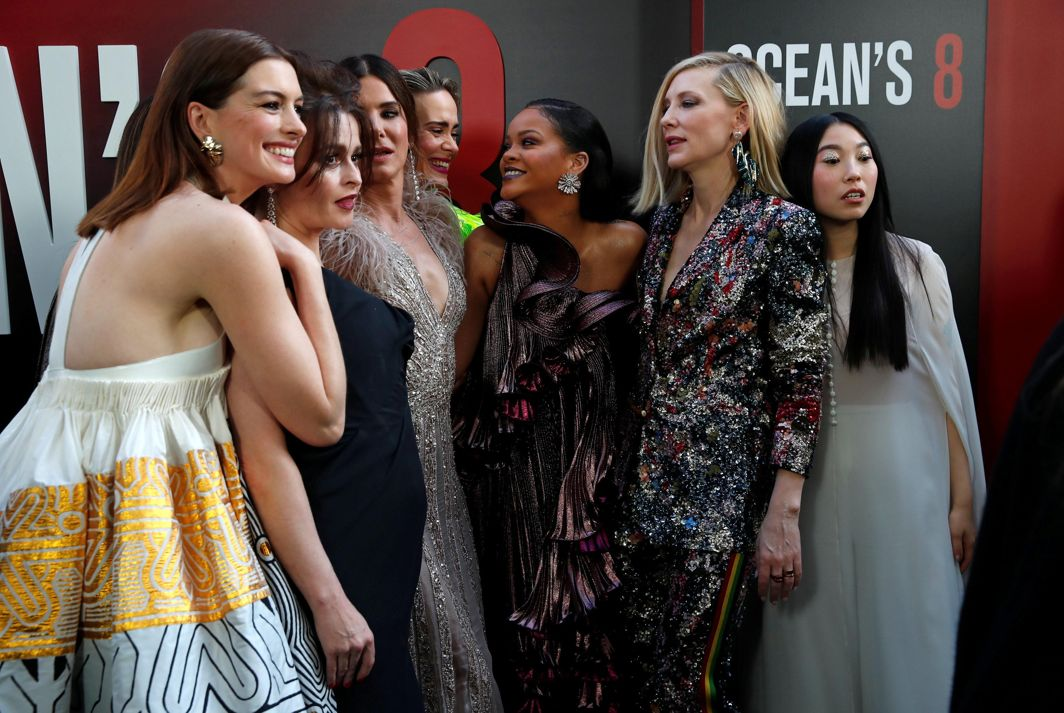 "Cast members Anne Hathaway (L to R) Helena Bonham Carter, Sandra Bullock, Sarah Paulson, Rihanna, Cate Blanchett and Awkwafina pose at the world premiere of the film ""Ocean's 8"" at Alice Tully Hall in New York City, New York, US, Reuters/UNI"