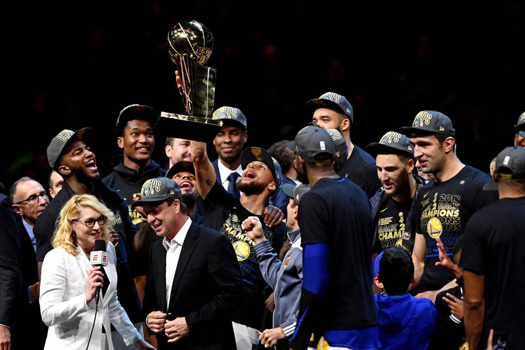 Golden State Warriors guard Stephen Curry (30) celebrates with the Larry O'Brien Championship Trophy after beating the Cleveland Cavaliers in game four of the 2018 NBA Finals at Quicken Loans Arena, Ken Blaze, USA TODAY Sports, Reuters/UNI