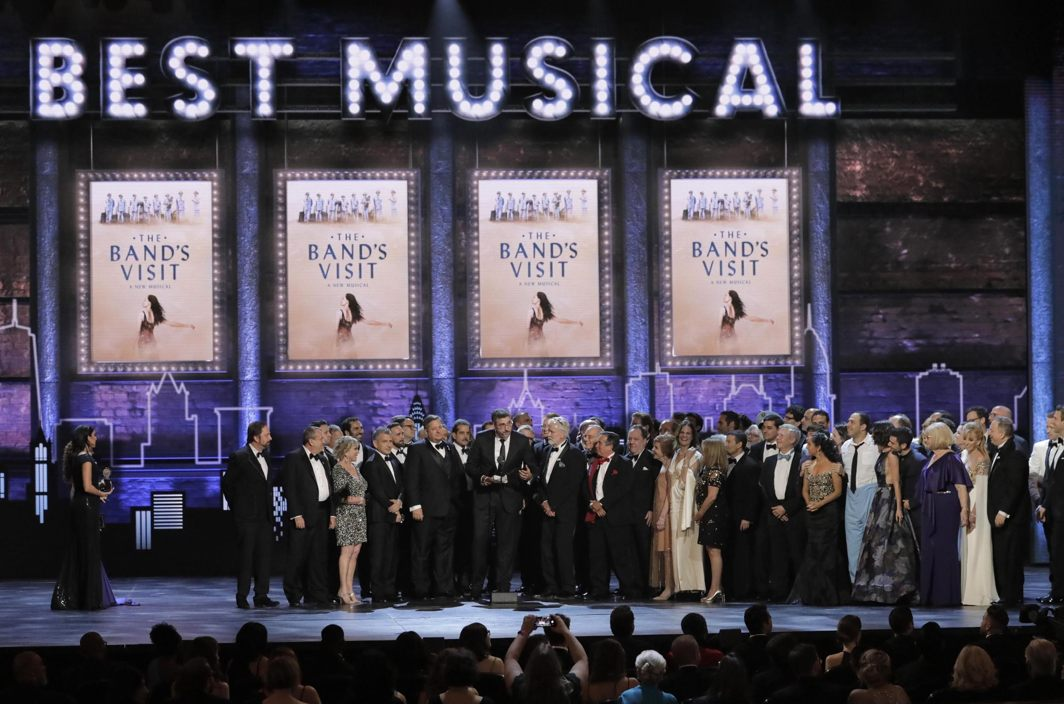 """The cast and producers of """"The Band's Visit"""" accept the award for Best Musical at the 72nd Annual Tony Awards, New York, Reuters/UNI"""