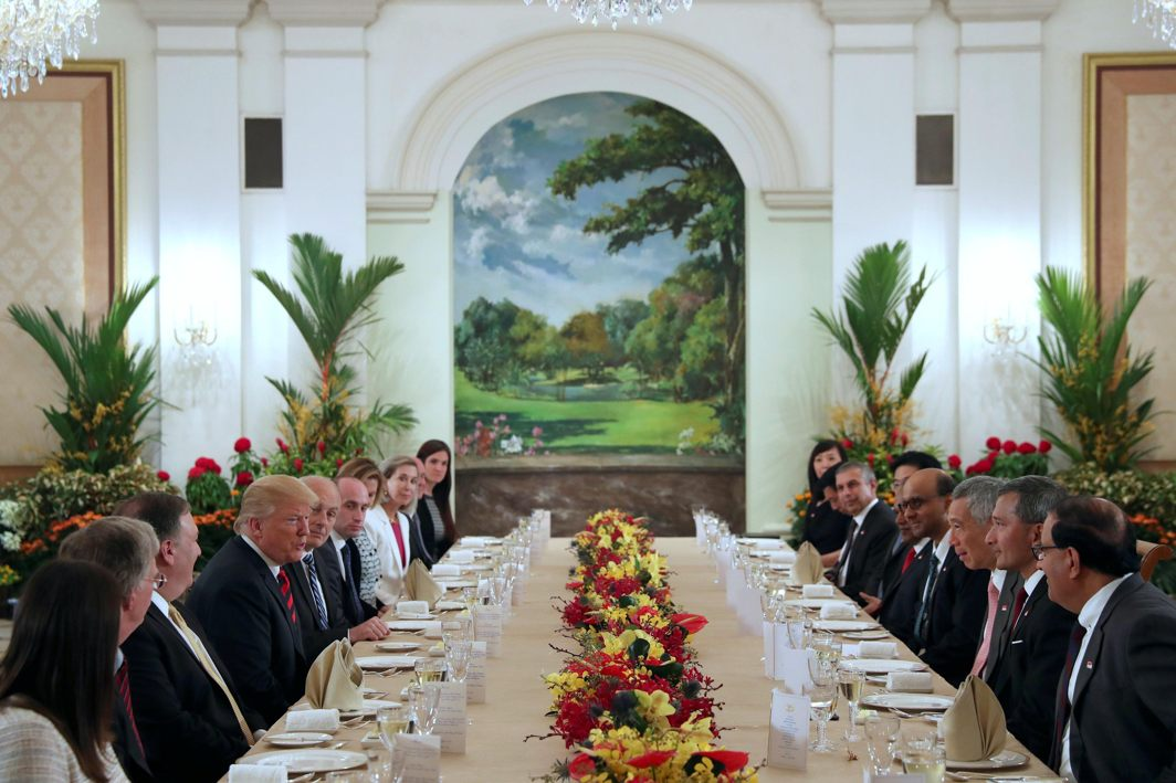US President Donald Trump and his delegation have lunch with Singapore's Prime Minister Lee Hsien Loong and officials at the Istana in Singapore, Reuters/UNI