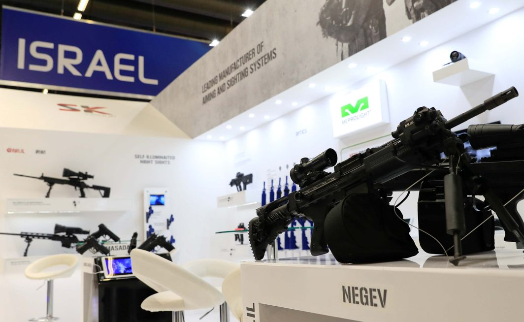 A Tavor assault rifle with Mepro M5 7.62X51 mm is on display in the Israeli pavilion during the Eurosatory International Defence Exhibition in Villepinte, north of Paris, France, Reuters/UNI