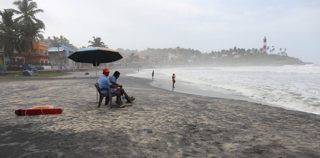 A view of the deserted Kovalam beach due to extremely rough sea and bad weather conditions in Thiruvananthapuram, UNI
