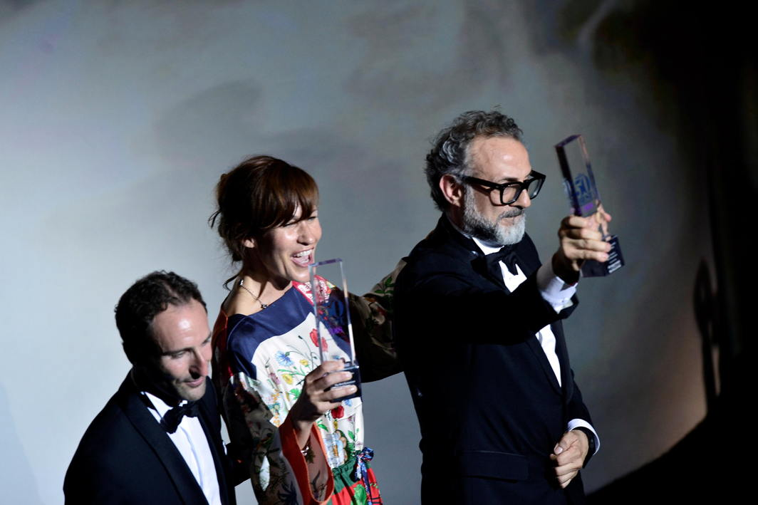 Massimo Bottura, the chef patron of Osteria Francescana restaurant in Italy, next to his wife Lara Gilmore, receives the award for Best Restaurant during the World's 50 Best Restaurants Awards at the Palacio Euskalduna in Bilbao, Spain, Reuters/UNI
