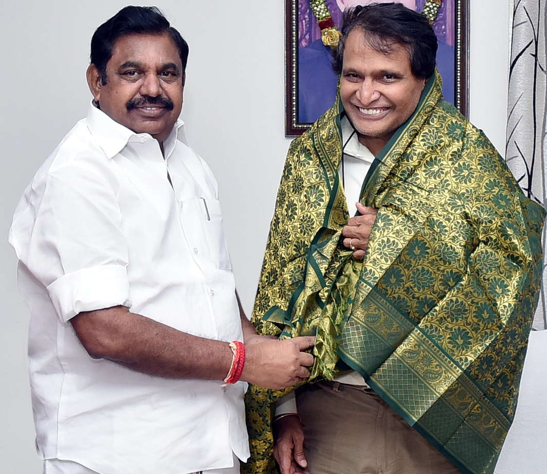 Union Minister Suresh Prabhu calls on Tamil Nadu Chief Minister K Palaniswamy at his camp office, in Chennai, UNI