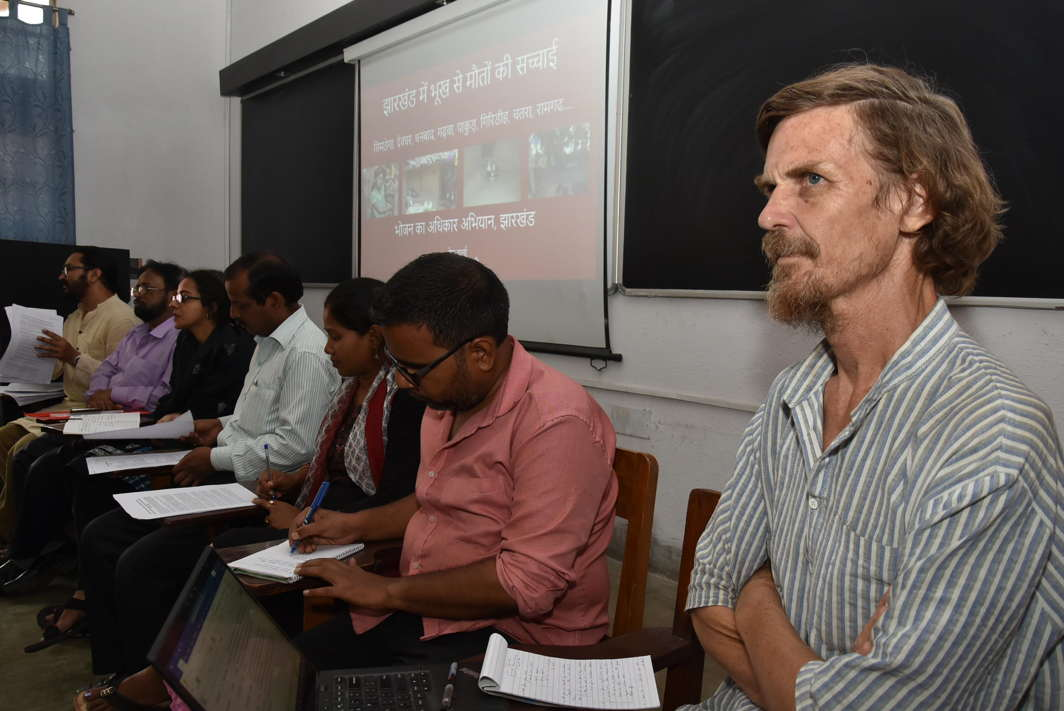 Belgian born Indian Development Economist Jean Dreze alongwith expert team members, addresses a press conference on the deaths allegedly due to starvation in Jharkhand state, at Xavier Institute of Social Service in Ranchi, UNI