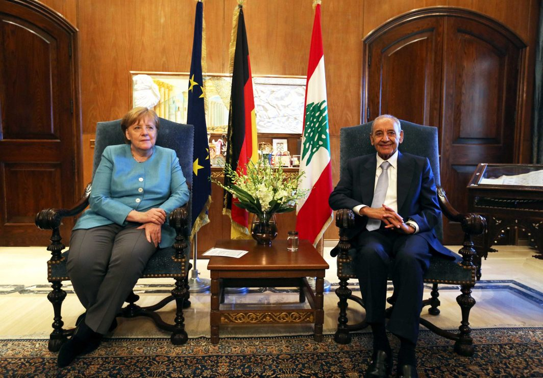 Lebanese Parliament Speaker Nabih Berri meets German Chancellor Angela Merkel in Beirut, Lebanon, Reuters/UNI