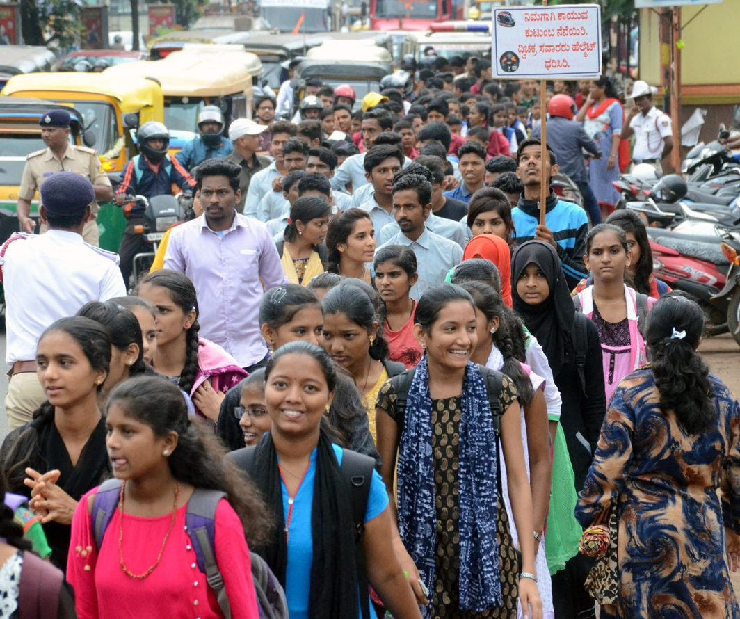 Students participate in a road safety and traffic awareness rally in Belagavi, UNI