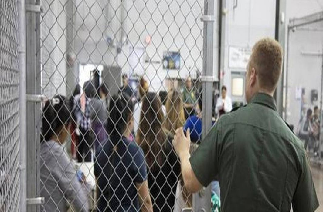 A view of inside US Customs and Border Protection detention facility.