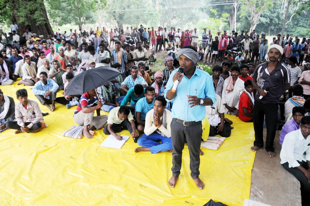 "Josh Jonas Tidu, one of the accused and masterminds of the abduction and gang-rape of five tribal women anti-trafficking activists from NGO ""Ashakiran"" at gunpoint, addresses a Gram Sabha at Chochang village in Khunti district, 90 km south of Ranchi, UNI"