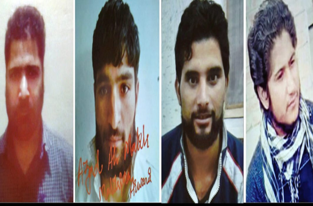 Photos released by police of the four LeT cadre allegedly involved in the killing of Kashmiri journalist Shujaat Bukhari. (PTI)