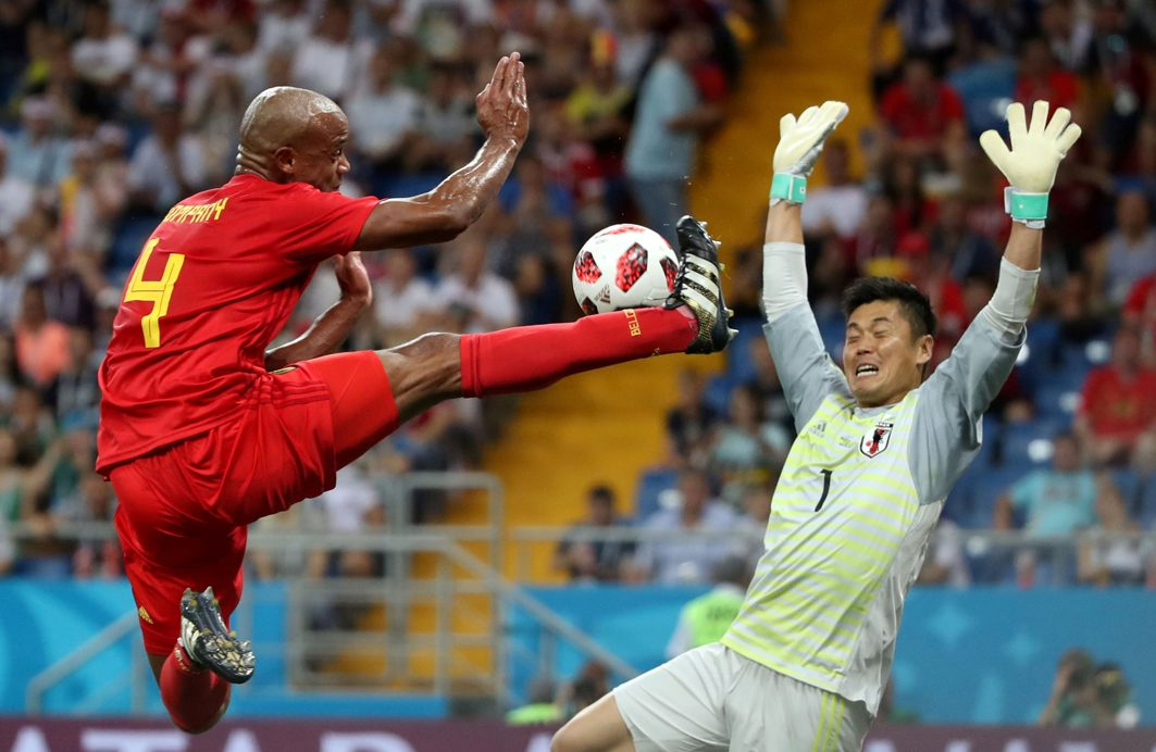 Belgium's Vincent Kompany in action against Japan's Eiji Kawashima during the World Cup pre-quarterfinals at Rostov Arena, Rostov-on-Don, Russia; Belgium won 3-2, Reuters/UNI