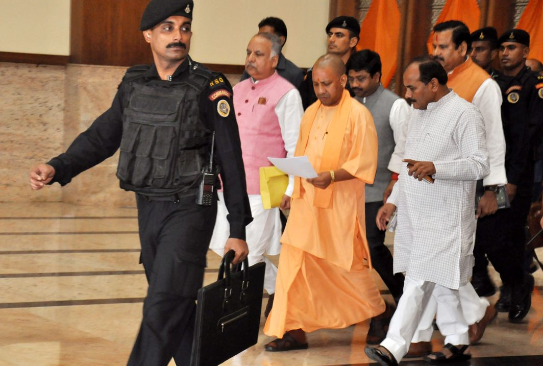 Uttar Pradesh Chief Minister Yogi Aditynath comes out of Lok Bhawan after cabinet meeting, in Lucknow, UNI