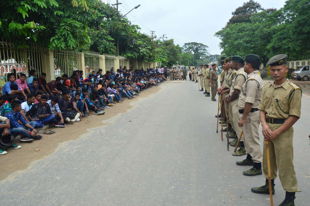 Youths passed in the Tripura Police Constable interview in 2017 stage a sit in protest in front of the chief minister's residence, demanding appointment letters, in Agartala, UNI