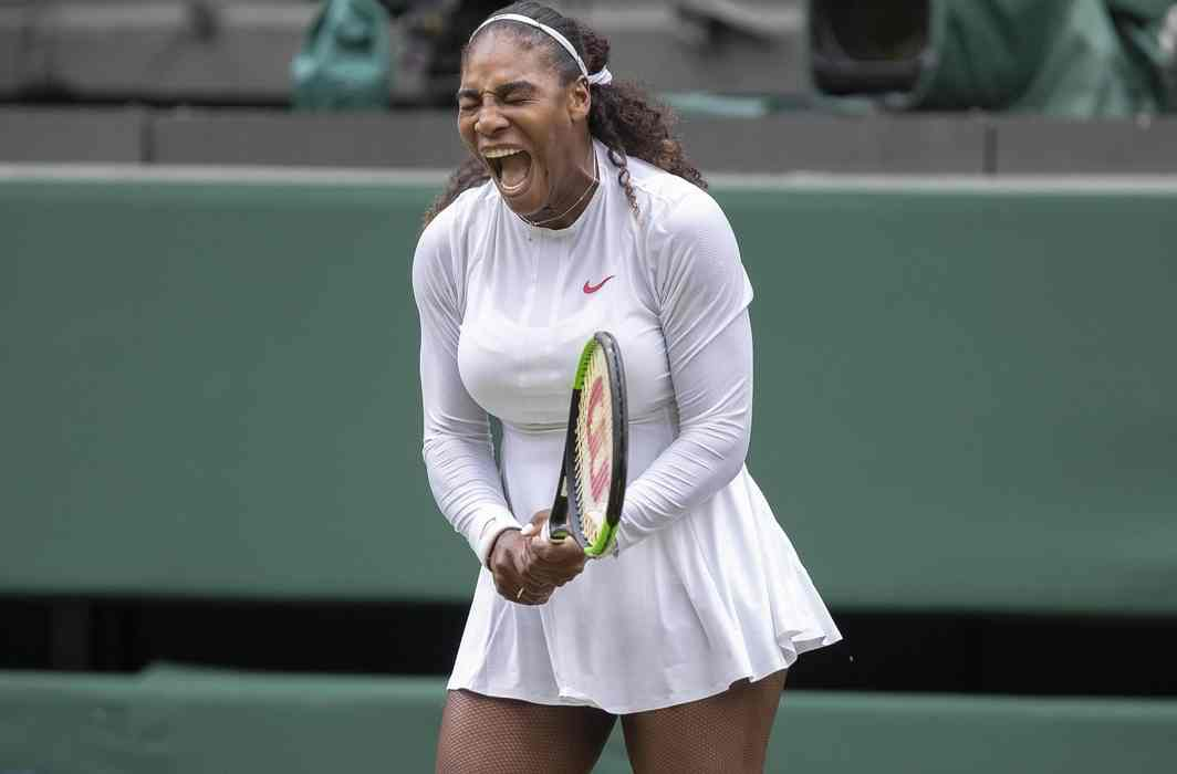 Serena Williams (USA) reacts during her match against Viktoriya Tomova (BUL) on day three at the All England Lawn and Croquet Club, London, United Kingdom; Susan Mullane/USA TODAY/Reuters/UNI