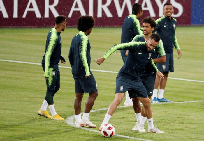 Brazil's Renato Augusto and Marquinhos at training camp in Kazan, Russia, Reuters/UNI