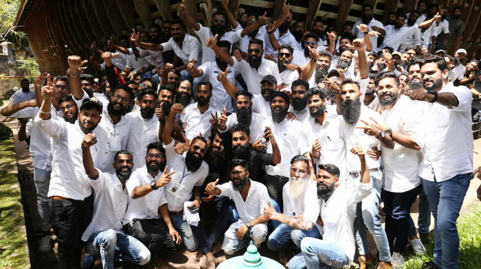 Members of Kerala Beard Society join together to mark the first anniversary of the as part of the society at Vyloppilli Samskrithi Bhavan in Thiruvananthapuram, UNI