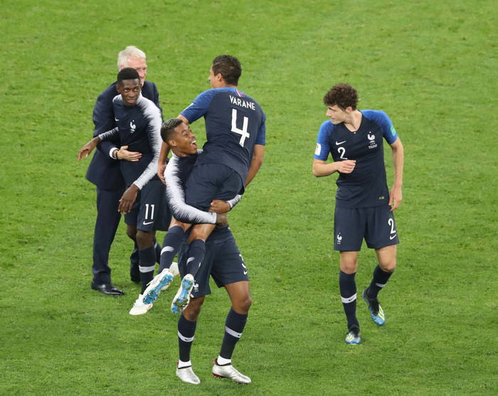 The French team celebrates victory after the semfinal match of FIFA World Cup-2018 in which they beat Belgium 1-0 in St Petersburg, UNI