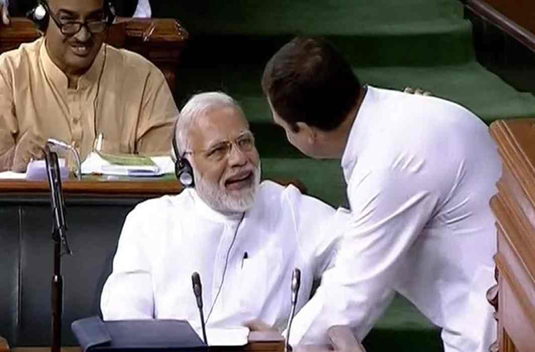 No confidence motion: After a scathing attack, Rahul Gandhi hugs PM Modi