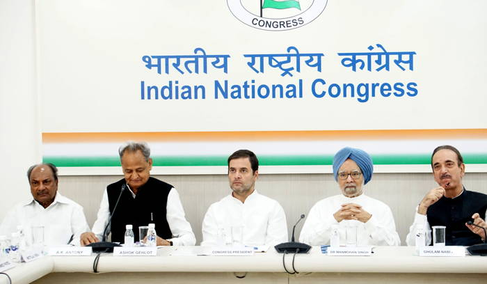 Congress President Rahul Gandhi presides over a Congress Working Committee Meeting, in New Delhi. Former Prime Minister Manmohan Singh, and senior party leaders Ashok Gehlot and AK Antony are also seen, UNI