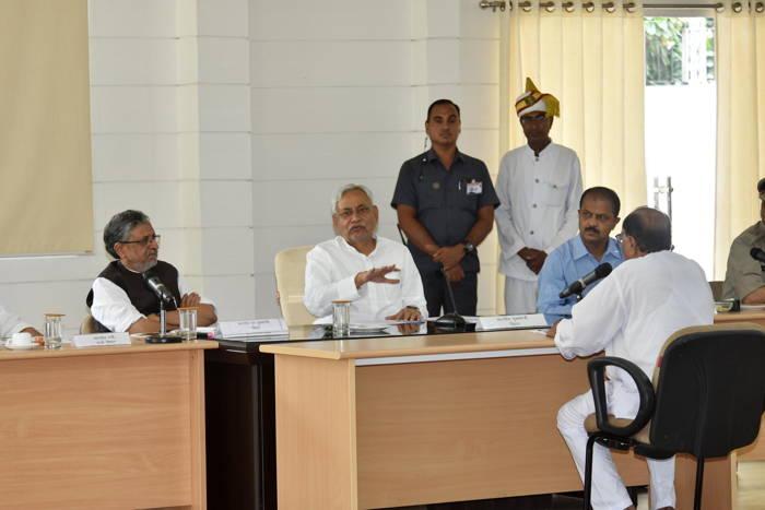 Bihar Chief Minister Nitish Kumar along with deputy CM Sushil Kumar Modi during Lok Samvad at his official residence, in Patna, UNI