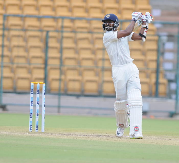 India A batsman KS Bharat plays a shot against South Africa A, during 3rd day's play of the 1st test match, at M Chinnaswamy Stadium in Bengaluru, UNI