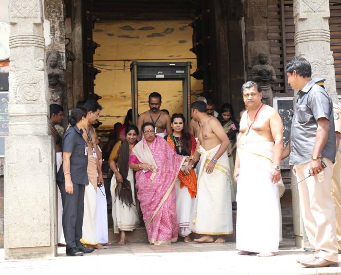 President Ram Nath Kovind's wife Savita Kovind and daughter Swati come out after offering prayers at the Padmanabhaswami temple, in Thiruvananthapuram, UNI