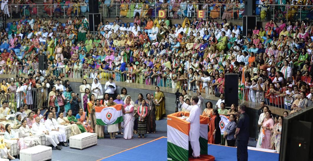 Congress President Rahul Gandhi addresses the 'Mahila Adhikar Sammelan' at Talkatora Stadium in New Delhi, UNI